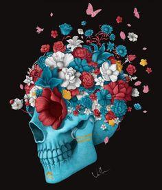 modèle de tatouage tete de mort et fleurs en couleur