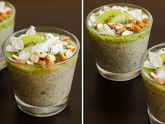 Chia pudink s kiwi a oříšky Raw Vegan, Kiwi, Guacamole, Acai Bowl, Cabbage, Paleo, Smoothie, Vegetables, Breakfast