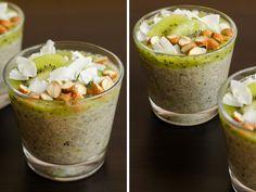 Chia pudink s kiwi a oříšky