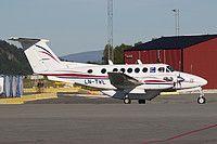 Bergen Air Transport Beechcraft B200 King Air LN-TWL aircraft, parked at Norway Trondheim Vaernes International Airport. 20/08/2015.
