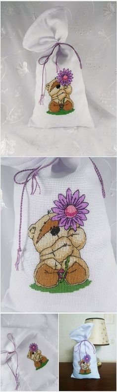 Reusable embroidered drawstring pouch. Cute bear with flower. Natural packaging bag. Drawstring bag Flower embroidery stitches Canvas pouch drawstring Fabric packaging bag Cotton drawstring bag