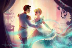 Personagens Disney em cenas românticas