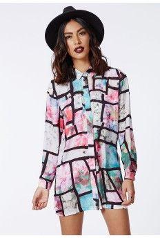 Aleyna Grid and Floral Print Shirt Dress Multi