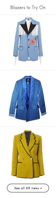 """""""Blazers to Try On"""" by tamara-40 ❤ liked on Polyvore featuring blazer, outerwear, jackets, gucci, blue, tailored jacket, embellished jacket, blue blazer jacket, peaked lapel blazer and peak lapel blazer"""