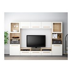 IKEA - BESTÅ, TV storage combination/glass doors, white stained oak effect/Valviken grey-turquoise clear glass, drawer runner, soft-closing, , The drawers and doors close silently and softly, thanks to the integrated soft-closing function.This TV storage combination has plenty of extra storage and makes it easy to keep your living room organised.It's easy to keep the cables from your TV and other devices out of sight but close at hand, as there are several cable outlets at the back of the…