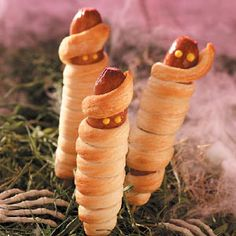 Mummies on a Stick Recipe. This recipe calls for refrigerated bread sticks, but I've also made them with refrigerated crescent rolls. Jesse had me making these year round, not just on Halloween.