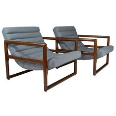 Milo Baughman; Oak Lounge Chairs for Thayer Coggin, 1960s.