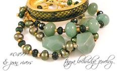 Tanya Lochridge Jewelry Green Aventurine & Pearl Gold Vermeil Bracelet stacked with an early Joan Rivers Classics Collection enamel bangle. #joanriversclassicscollection #tanyalochridgejewelry