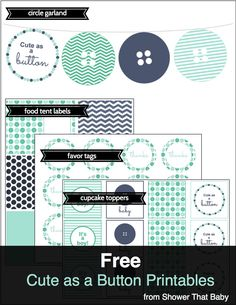 free cute as a button baby shower printables