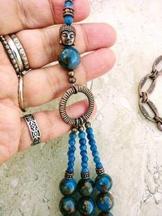 Multistrand Boho Blue Copper Quartz Buddha Necklace Earrings Set