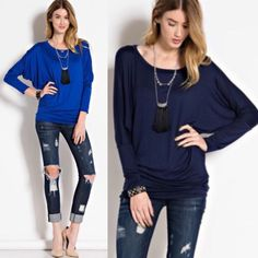The KARLIE dolman top - 5 colors HP 12/17 Solid color, round neckline, long sleeve dolman sleeve top. Fabric: 95% rayon, 5% spandex. So soft & comfy. ‼️NO TRADE, PRICE FIRM‼️ 5 colors available royal blue (size S)mocha (size S)brown (S & L) navy (S, M, XL) charcoal (XL) Bellanblue Tops