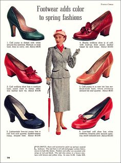 """""""Footwear,"""" 1953 To me, if it has a high heel of any kind, it's not a """"walking"""" shoe, except in the ceremonial sense. From the March issue of Family Circle magazine."""