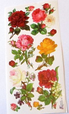Items similar to new Victorian Violette beautiful yellow red pink white roses flowers stickers for crafts scrapbooking cards gifts decoupage collage on Etsy Retro Floral, White Roses, Scrapbook Cards, Red And Pink, Craft Supplies, Decoupage, Card Making, Arts And Crafts, Collage