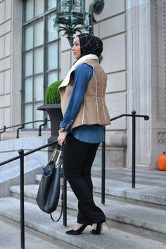 hijabi fashion, modest fashion, denim top, black jeans, hani hulu, knit scarf, fall outfits, furry vest