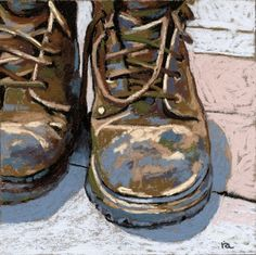 Work Boots pastel painting