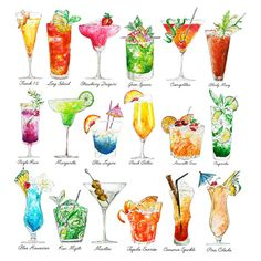 Cocktails Watercolor Art Summer Drinks - Print. This print is a full collection of the cocktails Ive painted from my Summer Drinks series, the Happy Hour. AVAILABLE SIZES: 8x8 inches 10x12 inches 12x12 inches 16x16 inches 16x20 inches 20x20 inches Please let me know on purchasing whether you would like a print of image 1 (with text) or image 2 (without text). Prints are sold unframed. It is shown for visualization purposes only. This is a reproduction print of an original pen and waterco...