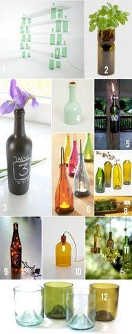 11 ways to repurpose old wine bottles.  Love that shelf!