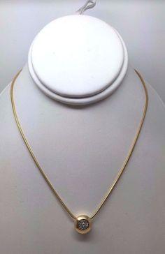 "14K YELLOW GOLD NECKLACE BEZEL SET ROUND DIAMOND CLUSTER W 18"" SNAKE CHAIN"