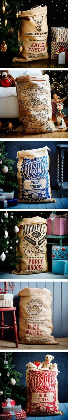 DIY Father Christmas Hessian Vintage Gift Kids Customized Name Letter Personalize Santa Sack Bag only $17.99!! https://www.aliexpress.com/store/product/2016-NEW-Hessian-Vintage-Large-Personalized-Name-Print-Santa-Sacks-Father-Christmas-Stocking-Jute-Gift-Bag/2534012_32760196806.html?spm=2114.8147860.0.0.Ej1gAV