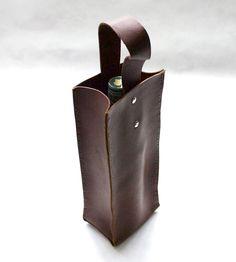 Cedar Brown Leather Wine Tote