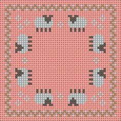 A Girl As Mad As Birds: May Biscornu and Fob - Free Cross Stitch Chart! Free for a small donation