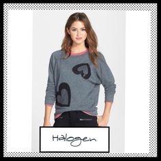 HPHALOGEN Sequin Embellished Hearts Sweatshirt HALOGEN 2 Hearts Sequin Embellished Grey Sweatshirt. NWOT Halogen Tops Sweatshirts & Hoodies