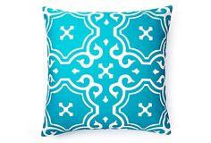 20x20 Medallion Outdoor Pillow, Aqua  DIVINE DESIGNS  $55.00/$110.00 Retail