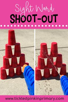 Here's a fun activity to stop the summer slide. Write sight word, numbers, letters, etc. on cups & your child can read the sight word on top and try to knock it off by squirting it. Click to find more activities. #sightwords #summer #summerlearning #summerslide #kindergarten