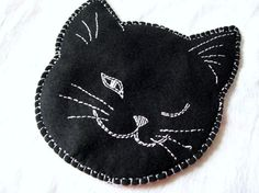 Cat Pot Holder Black Cat Embroidery by VintagePlusCrafts on Etsy, $10.00