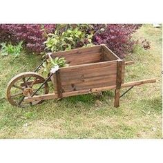 Wood Wheelbarrow Plant Garden Decoration Flower Bed Yard Lawn Ornament Landscape