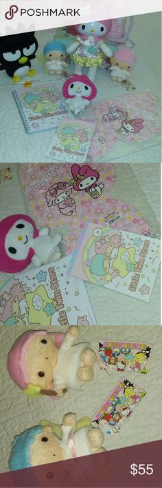 Cute Sanrio bundle All of this is new. The big my melody doll was only an ornament for my daughter's room and batz maru. Water bottle is also new. All together about $160 dollars. Free gift with this purchase. Two new little twin stars and two note books with pencil and sharpener. One big my melody cute notebook. And small my melody. Sanrio original Accessories