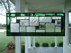 Stained Glass Panel Green Textured Clears Bevels by TheGlassShire, $68.00