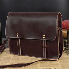 Men's Vintage Leather Briefcase Casual Messenger Shoulder Bag Crossbody Handbag