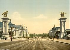 A view of Avenue Nicholas II in Paris during the Exposition Universal in 1900. The world's...