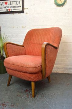 1-x-Vintage-Mid-Century-Cocktail-Chair-Lounge-Armchair