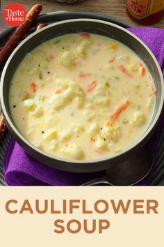 Nov 2019 - Every other cauliflower soup recipe I tried lacked flavor, but this cheesy recipe packs a tasty punch! We like it with hot pepper sauce for a little extra kick. —Debbie Ohlhausen, Chilliwack, British Columbia Cheesy Recipes, Easy Soup Recipes, Crockpot Recipes, Vegetarian Recipes, Cooking Recipes, Healthy Recipes, Keto Recipes, Healthy Soup, Low Carb Soup Recipes