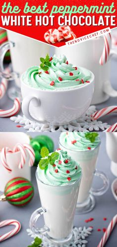 What better way to celebrate the season than with this holiday drink? Topped homemade green whipped cream and red candy hearts, this peppermint white hot chocolate recipe is the BEST. Kids will love this easy hot chocolate mix! Christmas Hot Chocolate, Hot Chocolate Mix, Hot Chocolate Recipes, Holiday Drinks, Fun Drinks, Holiday Recipes, Easy Drink Recipes, Red Candy, Peppermint