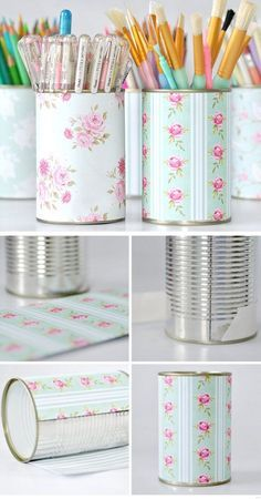 Pretty Pen Pot Storage Click Pic for 20 DIY Small Apartment Organization Ideas for the Home Easy Storage Ideas for Bedrooms Dollar Stores Pot Storage, Craft Storage, Easy Storage, Storage Hacks, Makeup Storage, Office Storage, Small Storage, Diy Storage Containers, Office Organisation