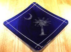 Blue South Carolina Glass Plate. $35.00, via Etsy.