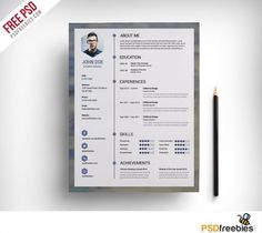 Nice Behance Style Resume Cv Template Free Psd Download Behance