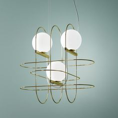 Setareh triple Pendant - / LED - W 45 x H 45 cm Gold, White by Fontana Arte - Design furniture and decoration with Made in Design