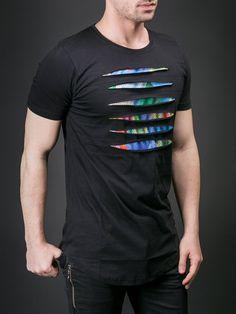 N&R Men Front Ripped Tri T-shirt - Black