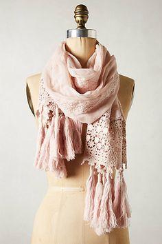 Pommed crochet scarf