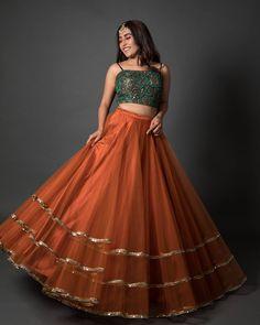 orange lehenga with crop top ~ orange lehenga . orange lehenga with crop top . Designer Bridal Lehenga, Bridal Lehenga Choli, Net Lehenga, Pakistani Bridal, Pakistani Suits, Lehenga Top, Saree, Pakistani Dresses, Indian Lehenga
