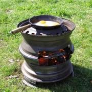cooker made out of car tyre rims, industrial fusion
