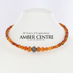 Classic Cognac Natural Baltic Amber Choker Necklace 13grams-A0278- | The Amber Centre London