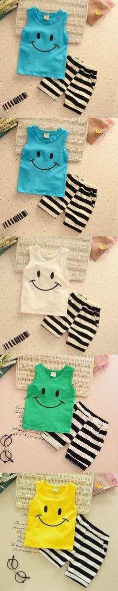 2016 Summer Fashion Cute Toddler Girl Clothing Set Sleeveless Smile Kids Clothes Boys 1 - 4 Years 4 Colors Children Clothes