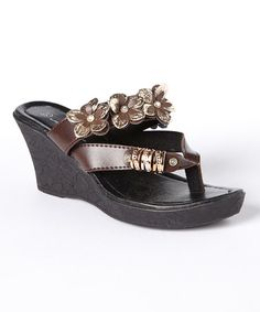 Look at this #zulilyfind! Brown Flower Wedge Sandal #zulilyfinds