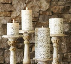 Beautiful.  These candlesticks would also look great with candles embellished with sheet music or old fashioned amber-toned prints.