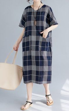 Loose fit dress pocket maxi long tunic short sleeve plus size checkered casual #Unbranded #dress #Casual